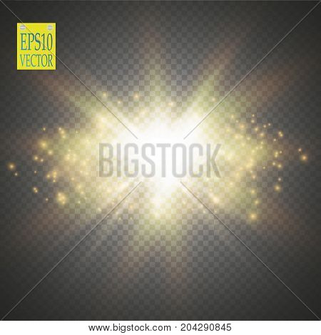 Vector gold glitter wave illustration. Gold star dust trail sparkling particles isolated on transparent background. Magic concept