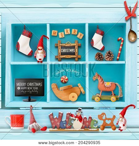 Christmas Greeting Card with Xmas Elements in Blue Cupboard. Christmas Background. Retro Style. Square format.