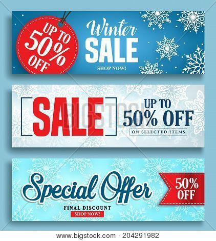Winter sale vector banner set with sale discount texts and labels in snow colorful background for seasonal marketing promotion. Vector illustration.