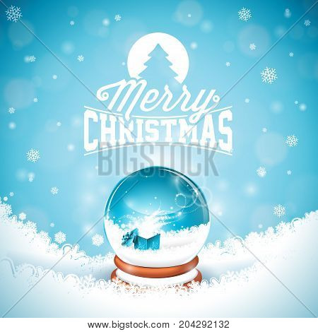 Merry Christmas illustration with typography and magic snow globe on winter landscape background. Vector Christmas holidays greeting card or poster design