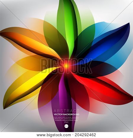 Abstract vector background. Abstract flower in bright rainbow colorful lines. Can be used for poster, brochure, cover and advertisement material. Vector illustration. Eps10.