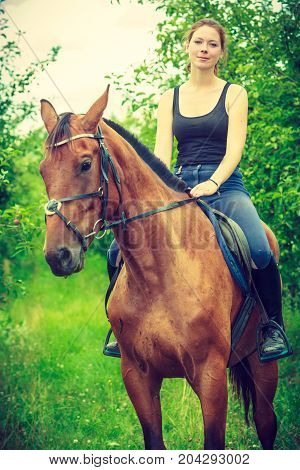Animal horsemanship concept. Young woman sitting and ridding on a horse through garden on sunny spring day