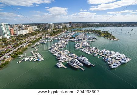 Aerial view of the Sarasota downtown and marina, Florida.