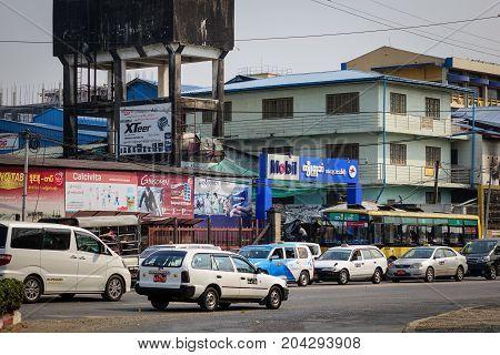Traffic At Downtown In Yangon, Myanmar