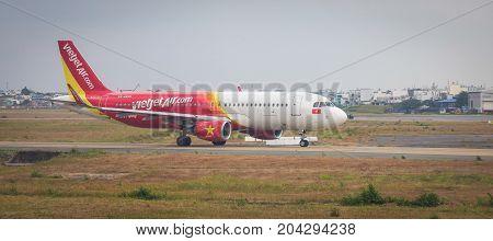 Aircraft On Runway At Airport In Saigon, Vietnam
