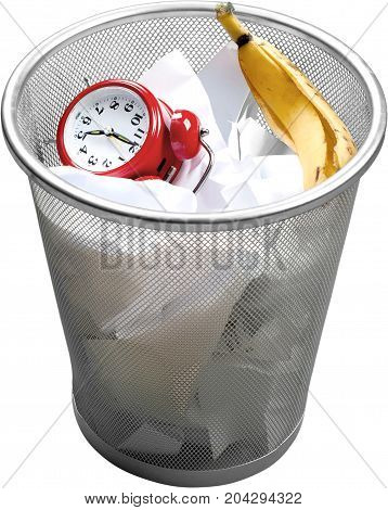 Wasting time time clock waste bucket alarm clock analog clock isolated