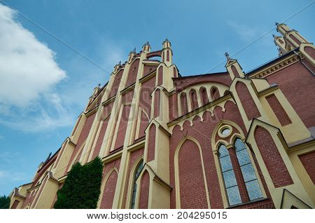 Catholic Church In Gothic  Style In Gervyaty . Belarus