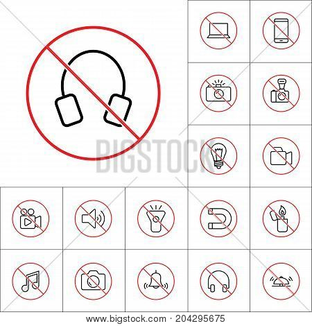 Thin Line No Headphones Forbidden Sign, Gadget Prohibitions Set