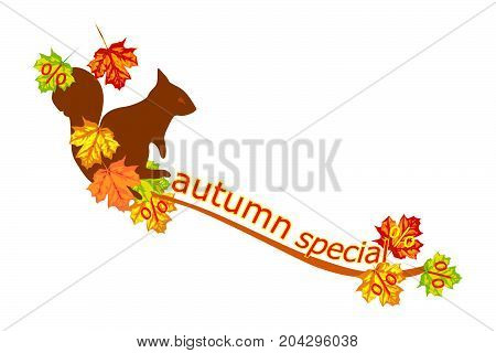 Autumn Special banner with squirrel and foliage - illustration