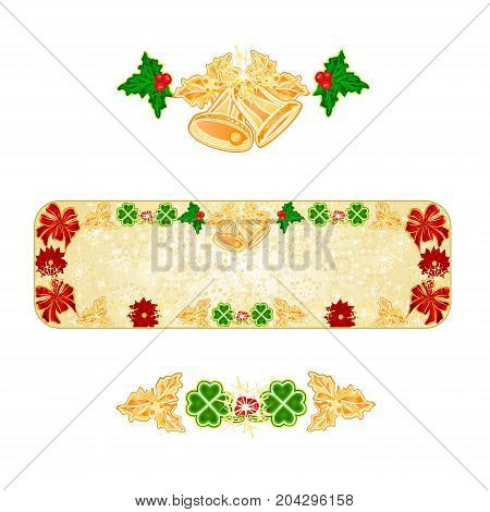 Banner Christmas decoration snowflakes with bells and poinsettia and cloverleaf vintage vector illustration editable hand draw