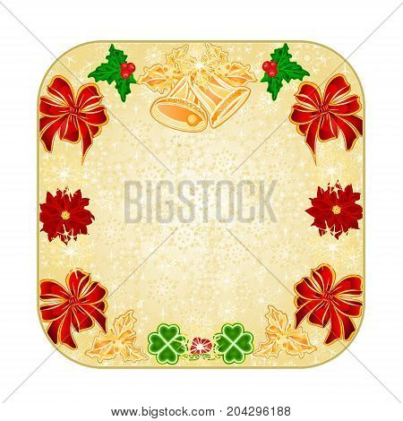 Button square Christmas decoration snowflakes  with  bells and poinsettia and cloverleaf vintage  vector illustration editable hand draw