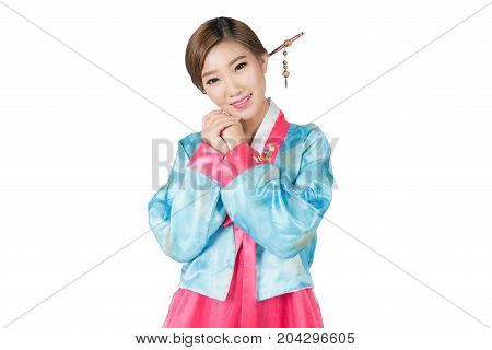 Korean Woman with Hanbok the traditional Korean dress in white background with clipping path.