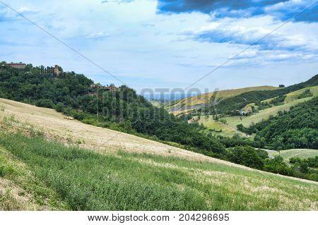 Summer landscape along the road from Maranello to Serramazzoni (Modena Emilia Romagna Italy) at summer