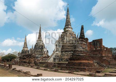 Ayutthaya Historical Park Phra Nakhon Si Ayutthaya. Temple Pagoda in Ayutthaya of Thailand.