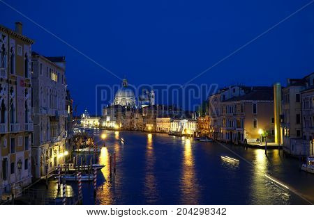 Grand canal cityscape in the evening in Venice Italy