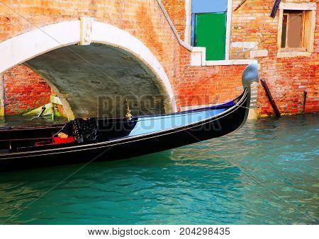 Gondola and the bridge in Venice Italy
