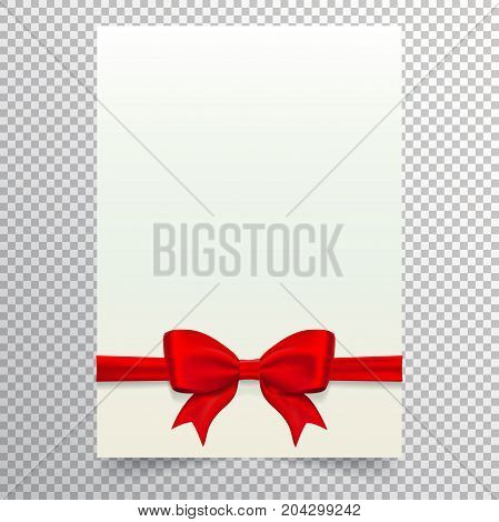 Blank paper sheet with red ribbon and bow. White blank a4 page isolated on transparent background. Applicable for wedding or birthday invitation design and gift voucher. Vector eps 10.