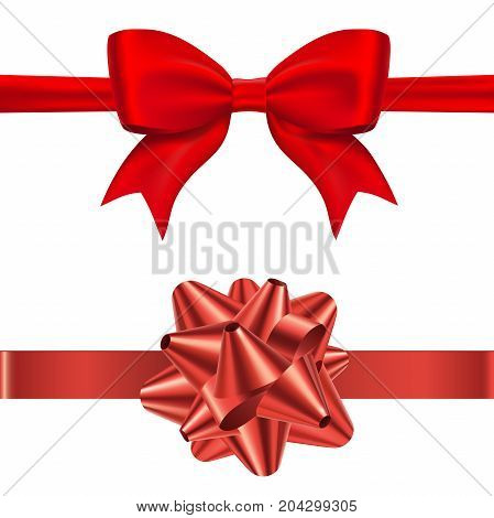 Gift red bow tie and conical bow with horizontal ribon isolated on white background. Decoration for your celebration design. Vector eps 10
