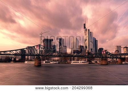 Modern city of Frankfurt, as a central business district and tourist attraction