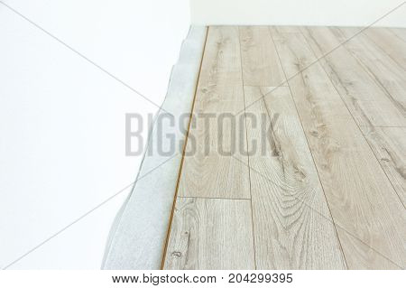 Installing light laminate floor with substrate under a laminate. On white background