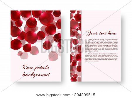 Greeting card with red flying rose petals and place for text. Vector illustration with a floral pattern.