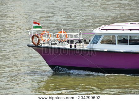 Touris boat on the river Danube at Budapest city Hubngary