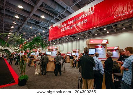 SAN FRANCISCO CA USA - OCT 2 2012 - Oracle applications demoground booth at exhibition hall of Oracle OpenWorld conference in Moscone convention center on Oct 2 2012 in San Francisco CA.