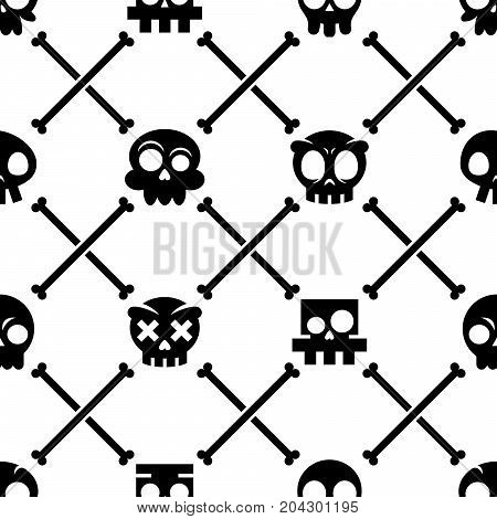 Halloween skull vector seamless pattern, Mexican cute black skulls with bones design, Dia de los Muertos background