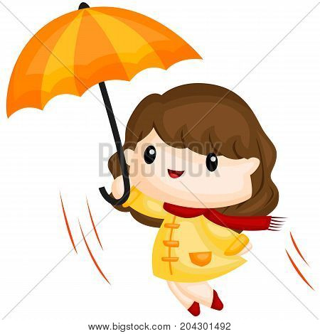 a girl flying with her umbrella and the wind
