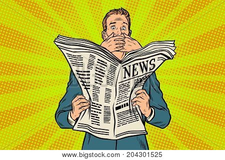 Scary scary bad news in the newspaper, reader response. Pop art retro vector illustration