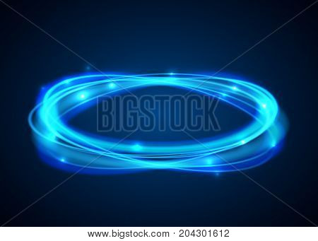Vector magic blue circle. Glowing fire ring trace on black background. Ellipse line with flying sparkling flash lights. Vector illustration