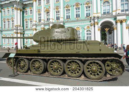 Saint Petersburg Russia - August 11 2017: the T-34 Tank on the Palace square on 11 August 2017 in St. Petersburg Russia.