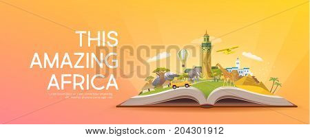 Travel to Africa. Road trip. Tourism. Open book with landmarks. Africa Travel Guide. Advertising web illustration. Summer vacation. Travelling banner. Modern flat design. EPS 10. 6