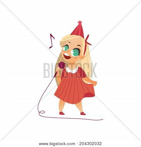 vector flat cartoon girl kid singing at microphone standing alone in pink dress party hat. Little vocal star female character. Isolated illustration on a white background. Kids party concept