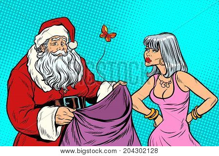 Santa Claus without gifts and angry woman. New year and Christmas. Pop art retro vector illustration