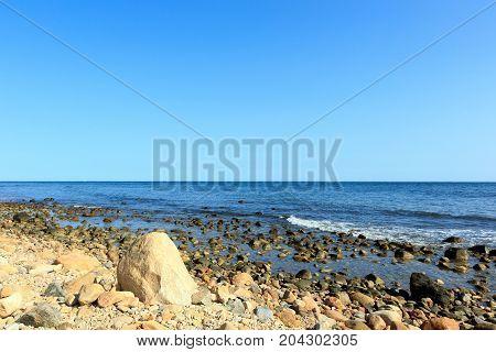 Rocky beach at Montauk Point, Long Island, New York