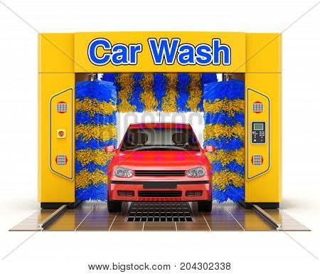Automatic car wash machine with red car on white background - 3D illustration