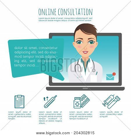 Online healthcare diagnosis and medical consultant. Vector infographic. Web or mobile application. Female doctor. Illustration for your design