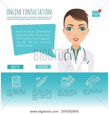 Online healthcare diagnosis and medical consultant. Web or mobile application. Vector infographic. Female doctor. Illustration for your design