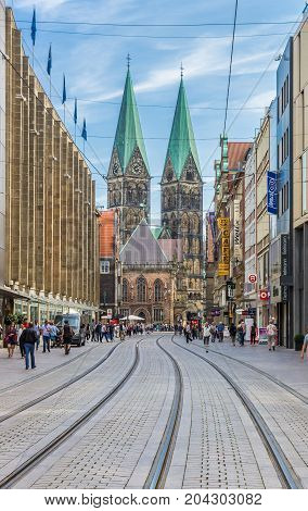 BREMEN, GERMANY - AUGUST 23, 2017: Shopping street leading to the Dom church of Bremen, Germany