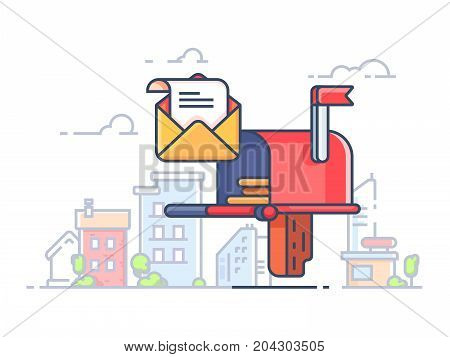 Mail box for letters and correspondence. Box for envelopes in street. Vector illustration