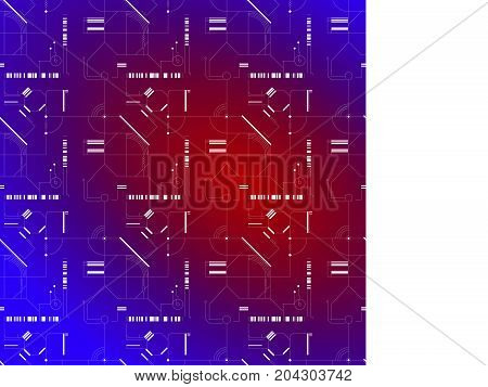 Cyber white pattern on light blue background gradient texture seamless