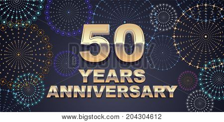 50 years anniversary vector icon logo. Graphic design element with golden 3D numbers for 50th anniversary decoration