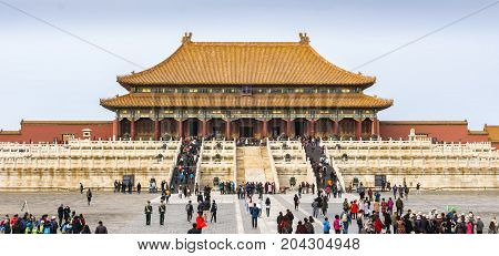 Beijing, China - Oct 30, 2016: The Hall of Supreme Harmony (Taihedian) ahead. At the Forbidden City (Gu Gong, Palace Museum).