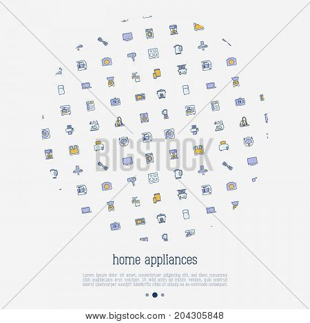 Home appliances concept in circle with thin line icons: refrigerator, coffee machine, microwave, fryer. Household vector illustration for banner, web page, print media.