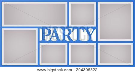 Collage of photo frames vector illustration background. Sign party and design element with blank photo frames with borders