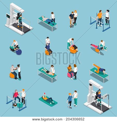Isolated physiotherapy rehabilitation isometric people icon set with patients at doctor appointment vector illustration