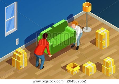 Moving people isometric composition with new residence room interior carton boxes and couple characters moving sofa vector illustration