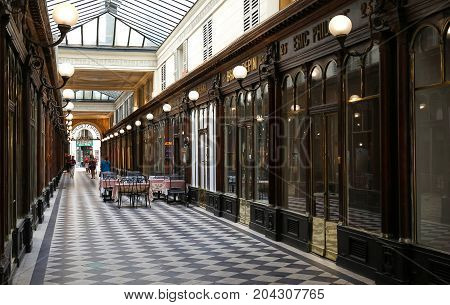 PARIS FRANCE - AUGUST 23 2017: Galerie Vero Dodat near Palais-Royal. Galerie Vero Dodat is one of the 150 passageways and galleries that were opened in Paris in the mid 19th century.