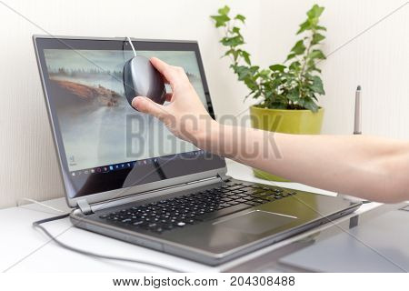 Workspace with calibrator or profiler attached to laptop's display to get accurate colors. Woman hand installs the calibrator on the monitor to adjust the color
